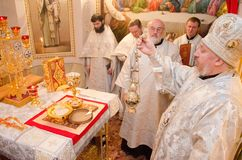 Divine Liturgy in the Cathedral of saints Peter and Paul in Gomel (Belarus). Stock Images
