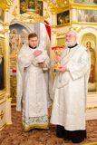 Divine Liturgy in the Cathedral of saints Peter and Paul in Gomel (Belarus). Royalty Free Stock Photo