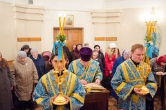 Divine Liturgy in the Cathedral of saints Peter and Paul in Gomel (Belarus). Stock Photography