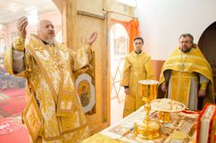 Divine Liturgy in the Cathedral of saints Peter and Paul in Gomel (Belarus). Stock Image