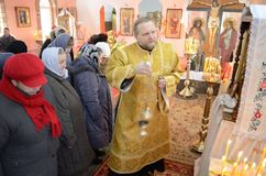 Divine Liturgy in the Cathedral of saints Peter and Paul in Gomel (Belarus). Royalty Free Stock Photos