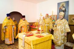 Divine Liturgy in the Cathedral of saints Peter and Paul in Gomel (Belarus). Royalty Free Stock Image