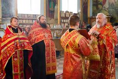 Divine Liturgy in the Orthodox Church in Gomel (Belarus) is 24 April 2015. Stock Photos