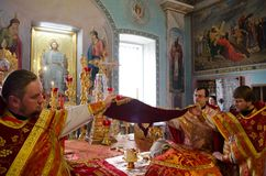 Divine Liturgy in the Orthodox Church in Gomel (Belarus) is 24 April 2015. Stock Photo