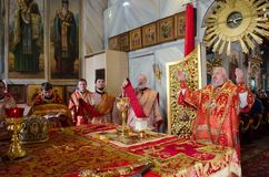 Divine Liturgy in the Orthodox Church in Gomel (Belarus) is 24 April 2015. Stock Photography