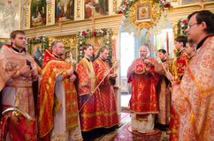Divine Liturgy in the Orthodox Church in Gomel (Belarus) is 24 April 2015. Royalty Free Stock Image