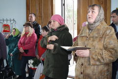 Divine Liturgy in the Orthodox Church in Gomel (Belarus) is 24 April 2015. Royalty Free Stock Photography