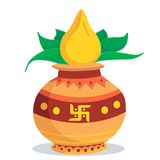 Divine pot with coconut royalty free illustration