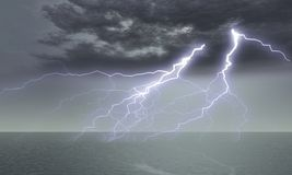 Divine punishment. (a lightning, a thunder-storm above ocean Stock Photos