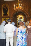 Divine service. In an orthodox temple Royalty Free Stock Photo