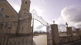 Greco Catholic Church. Divine service in the Greek church of the Catholic Church stock video footage