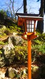 Divine shrine in Japan. Traditional japanese lamp pole in Japan. Traditional japanese lamp pole in Japan Royalty Free Stock Photo