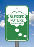 Divine Sign, Blessed Future. A Divine Sign in the heavens featuring a green and white rectangle shaped sign depicting a thought cloud with words inside of it stock illustration