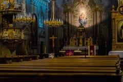 Into the divine silence. It's a roman catholic church from Sibiu, Romania royalty free stock photos