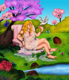 The Divine Venus 2017. An abstract colorful painting illustration of a beautiful goddess, Venus, sitting on a pink marble throne in the midst of the legendary Stock Image