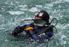 Scuba diving. Diving in a freezing lake at an altitude of 3600 meters Royalty Free Stock Photography