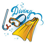 Diving. Equipment - tube, snorkel, flippers, mask Stock Photo