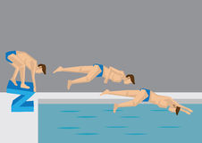 Diving Action Sequence Vector Illustration Royalty Free Stock Images