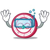 Diving Aeternity coin character cartoon. Vector illustration Stock Images