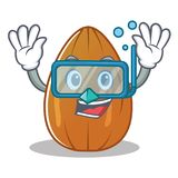 Diving almond nut character cartoon Stock Image