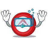 Diving Ark coin character cartoon. Vector illustration Royalty Free Stock Photo