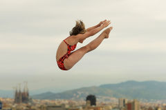 Diving athlete in action. During a competition  of Barcelona diving trophy at Monjuich swimming pool July 24, 2011 in Barcelona, Spain Royalty Free Stock Photography