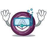 Diving Augur coin character cartoon. Vector illustration Royalty Free Stock Photos