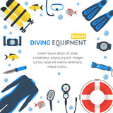 Diving Banner Flat Design Style. Vector Stock Image