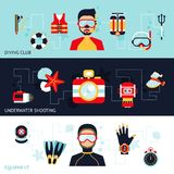 Diving Banner Set Royalty Free Stock Photography