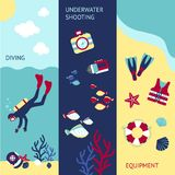 Diving Banner Set Stock Images