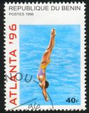 Diving. BENIN CIRCA1996:  stamp printed by Benin, shows Diving, circa 1996 Stock Image