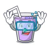 Diving berry smoothie character cartoon Royalty Free Illustration