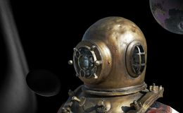 Diving bill in outerspace. Antique diving bill pictured in abstract it outerspace royalty free stock image