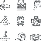 Diving black line icons Stock Photo