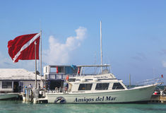 Diving Boat at the Amigos del Mar Dock in San Pedro, Belize Royalty Free Stock Photos