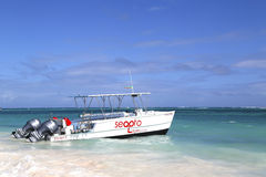 Diving boat at the Bavaro Beach in Punta Cana,  Dominican Republic Royalty Free Stock Photo