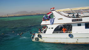 Diving Boat with Tourists near the Reef in the Red Sea, at the Sinai Peninsula, Egypt stock video footage