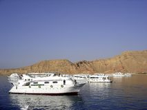 Diving boats. Scuba diving tour boats anchored in the Red Sea off Sharm el Sheikh, Egypt Royalty Free Stock Photos