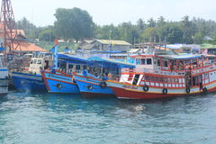 Diving boats take tourists to. April 8, 2014 the ship waiting to tourists snorkeling at Koh Tao, Surat Thani, Thailand stock photo