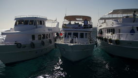 Diving Boats with Tourists near the Reef in the Red Sea, at the Sinai Peninsula, Egypt stock video