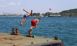 Diving in the Bosphorus Stock Image