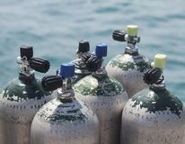 Diving bottles Royalty Free Stock Images