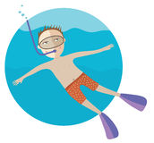 The diving boy. Vector illustration Royalty Free Stock Image