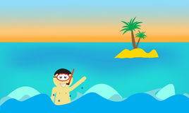 Diving boy in sea background. With island and snorkel Stock Images