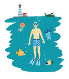 Diving Boy. Under Water. Vector Illustration Stock Image