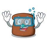 Diving brown bread character cartoon Vector Illustration