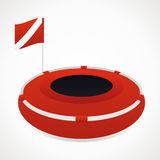 Diving buoy. Red with a flag. vector format Royalty Free Stock Image