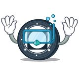 Diving Byteball Bytes coin character cartoon. Vector illustration Stock Images