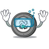 Diving Bytom coin character cartoon. Vector illustration Stock Image