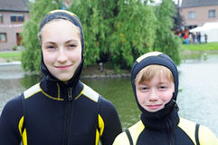 Diving children Stock Photo